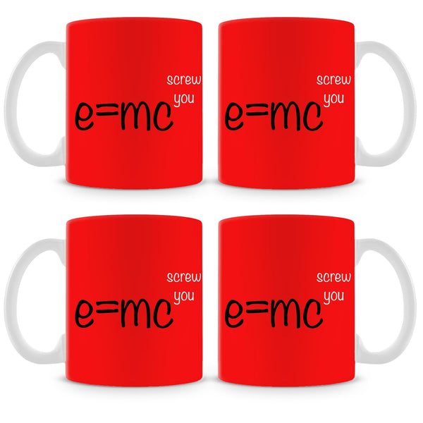 E=mc Screw You Mug (Set of 4)
