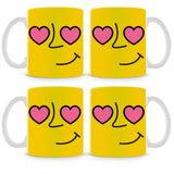 Emoticon 1 On Yellow Mug (Set of 4)