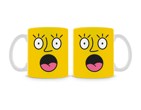 Emoticon 2 On Yellow Mug (Set of 2)