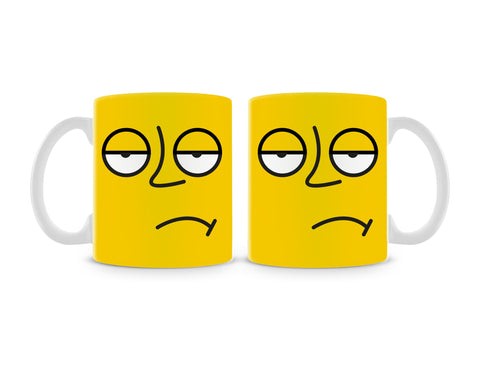 Emoticon 3 On Yellow Mug (Set of 2)
