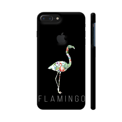 Flamingo On Black iPhone 7 Plus Logo Cut Cover | Artist: Disha