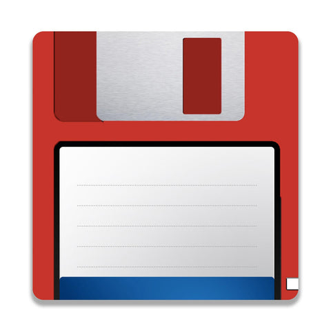 Floppy Disk Red Wooden Square Coaster | Artist: Abhinav