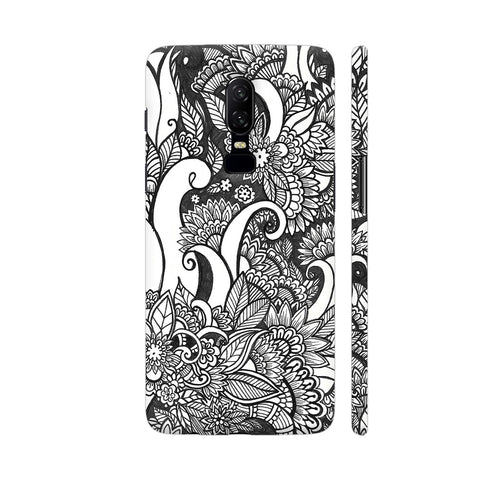Floral Chaos In Black And White OnePlus 6 Cover | Artist: Swathi Kirthyvasan