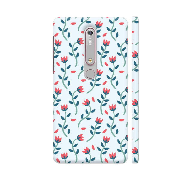 Floral Red Blue Nokia 6.1 Cover | Artist: Abhinav