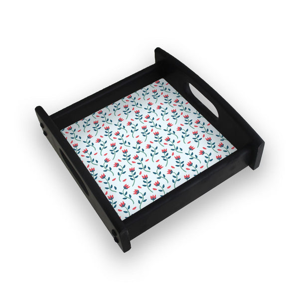 Floral Red Blue Square Wooden Serving Tray (Ebony)