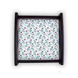 Floral Red Blue Square Wooden Serving Tray (Ebony) | Artist: Abhinav