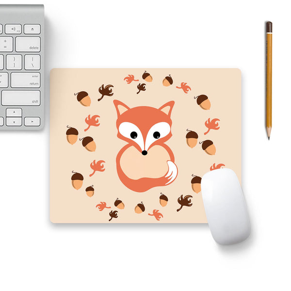 Fox In Autumn Mouse Pad Beige Base
