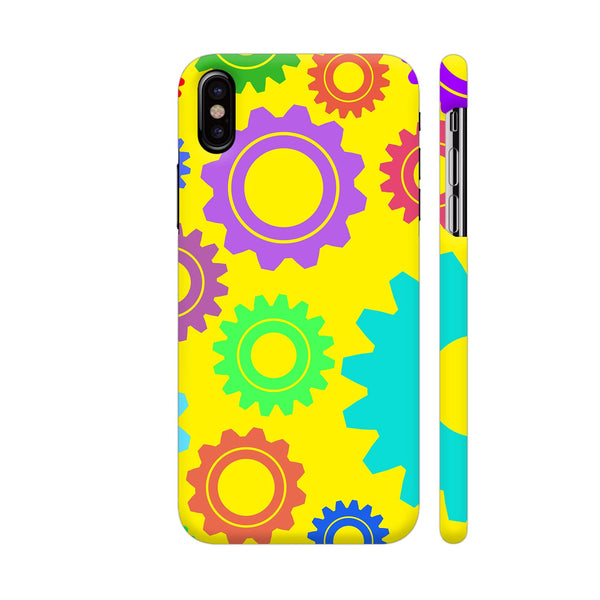 Gear Pattern On Yellow iPhone X Cover | Artist: Malls