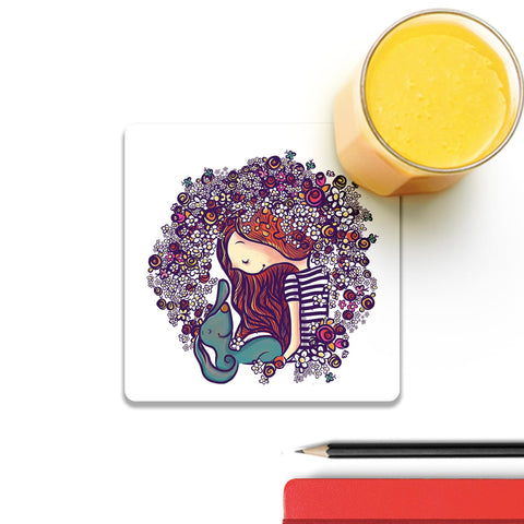 Girl And Her Dog Coaster