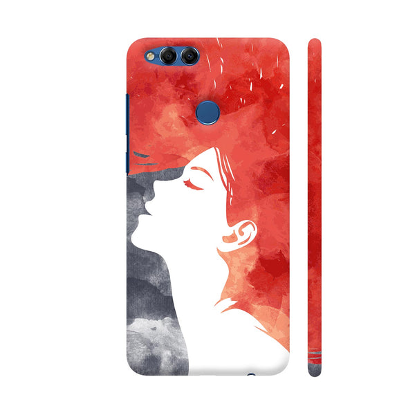 Girl Painted In Red Huawei Honor 7X Cover | Artist: Abhinav