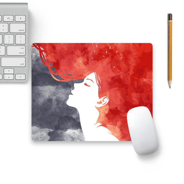 Girl Painted In Red Mouse Pad Beige Base