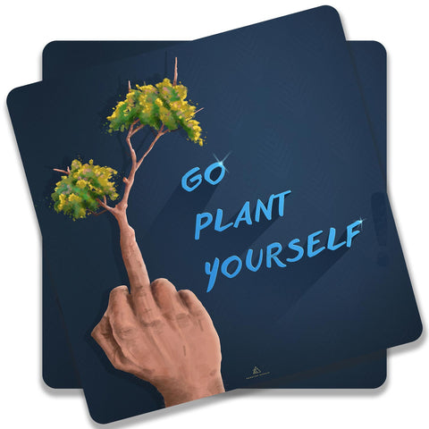 Go Plant Yourself Illustration Coaster (Set of 2)