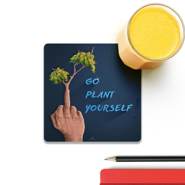Go Plant Yourself Illustration Coaster (Set of 4) | Artist: Ananthu Sankar