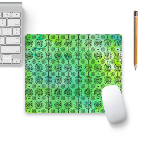 Going Tribal On Green Mouse Pad Black Base | Artist: Vaishnavi P