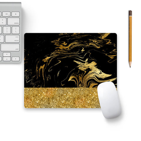 Gold And Black Marble Mouse Pad Black Base | Artist: UtART
