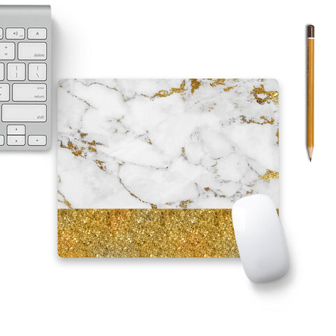 Gold And White Marble Mouse Pad Black Base | Artist: UtART