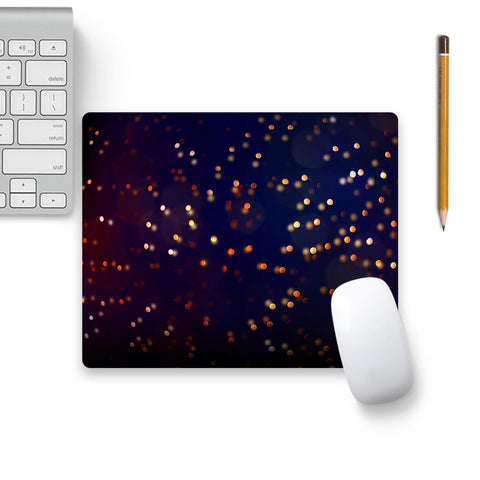Gold Confetti Elegance Luxury On Dark Blue Sky Mouse Pad Black Base | Artist: UtART