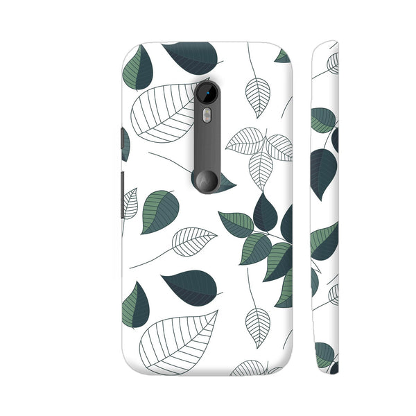 Green White Leaves Moto G Turbo Cover | Artist: Abhinav