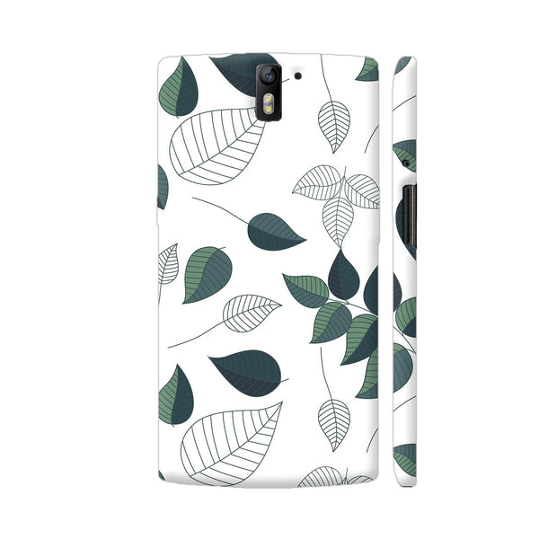 Green White Leaves OnePlus One Cover | Artist: Abhinav