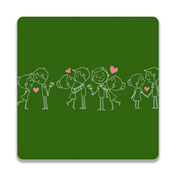 Happy Couple On Green Wooden Square Coaster | Artist: Abhinav