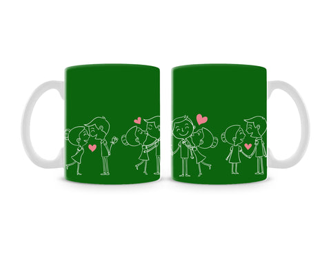 Happy Couple On Green Mug (Set of 2)