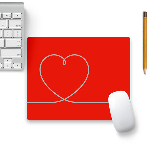 Heart Line On Red Mouse Pad Beige Base