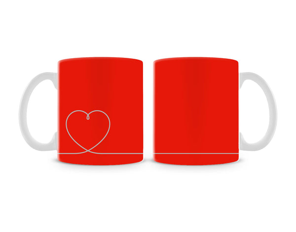 Heart Line On Red Mug (Set of 2)