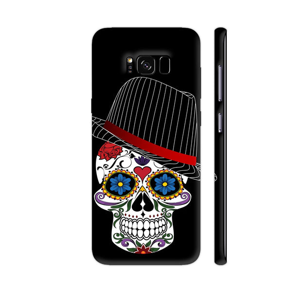 Hipster Modern Skull On Black Samsung Galaxy S8+ Cover | Artist: WonderfulDreamPicture