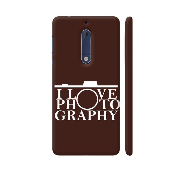 I Love Photography In Brown Nokia 5 Cover | Artist: Astha