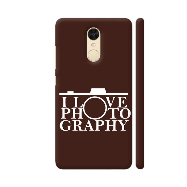 I Love Photography In Brown Redmi Note 4 Cover | Artist: Astha