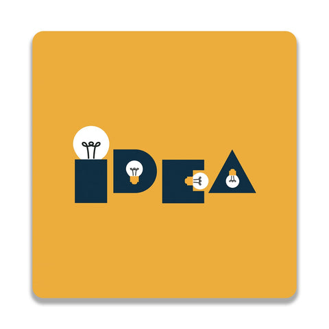 Idea Bulb Yellow Wooden Square Coaster | Artist: Abhinav