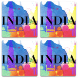 India Multicolor Monuments Wooden Square Coaster | Artist: Abhinav