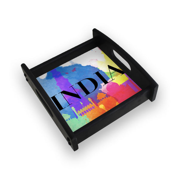 India Multicolor Monuments Square Wooden Serving Tray (Ebony)
