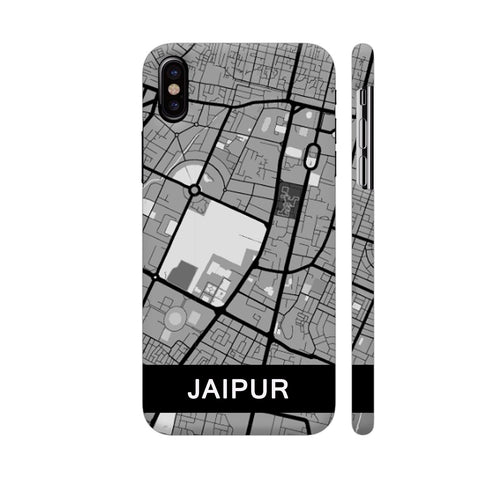 Jaipur Map In Grey iPhone X Cover | Artist: Kiran Maurya
