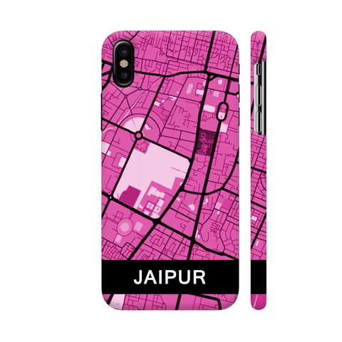 Jaipur Map In Pink iPhone X Cover | Artist: Kiran Maurya