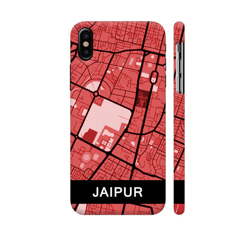 Jaipur Map In Red iPhone X Cover | Artist: Kiran Maurya