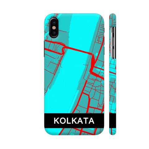 Kolkata Map In Blue iPhone X Cover | Artist: Kiran Maurya