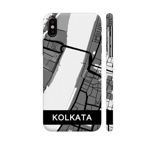 Kolkata Map In Grey iPhone X Cover | Artist: Kiran Maurya