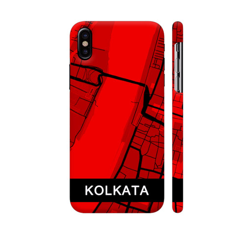 Kolkata Map In Red iPhone X Cover | Artist: Kiran Maurya