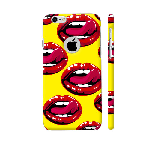 Lips Design On Yellow iPhone 6 / 6s Logo Cut Cover | Artist: Malls