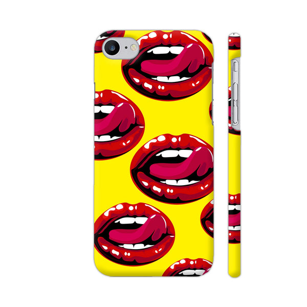 Lips Design On Yellow iPhone 7 Cover | Artist: Malls