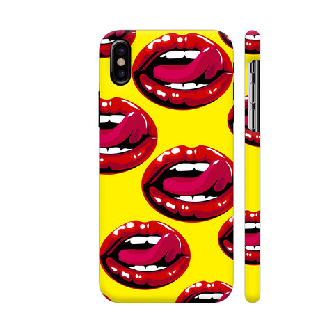 Lips Design On Yellow iPhone X Cover | Artist: Malls