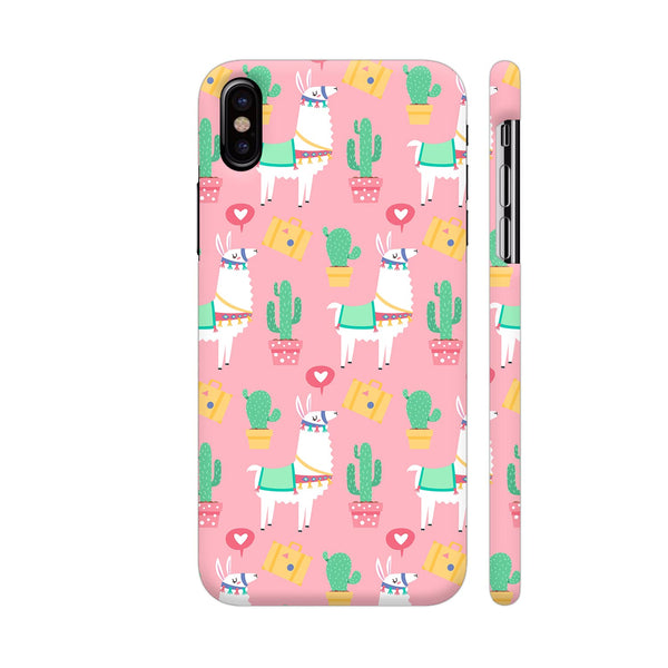 Llama Pink Pattern iPhone X Cover | Artist: Manju NK