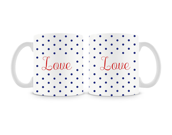 Love Blue Polka Dots Mug (Set of 2)