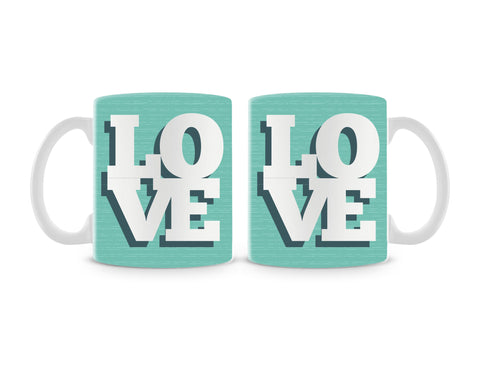 Love On Soft Green Mug (Set of 2)