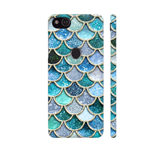 Luxury Aqua Mermaid Scales Google Pixel 3 XL Cover | Artist: UtART