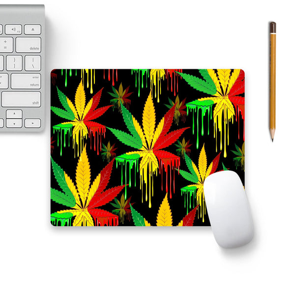 Marijuana Leaf Rasta Colors Dripping Paint Mouse Pad Black Base | Artist: BluedarkArt