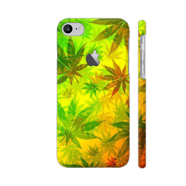 Marijuana Leaves Rasta Pattern iPhone 7 Logo Cut Cover | Artist: BluedarkArt