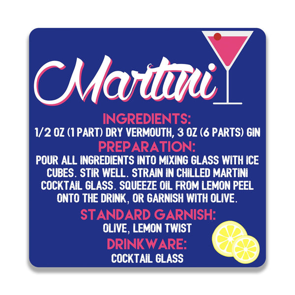 Martini On Blue Wooden Square Coaster | Artist: Abhinav