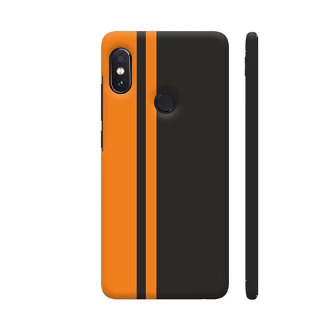 Minimal Orange Strips On Black Redmi Note 5 Pro Cover | Artist: Astha